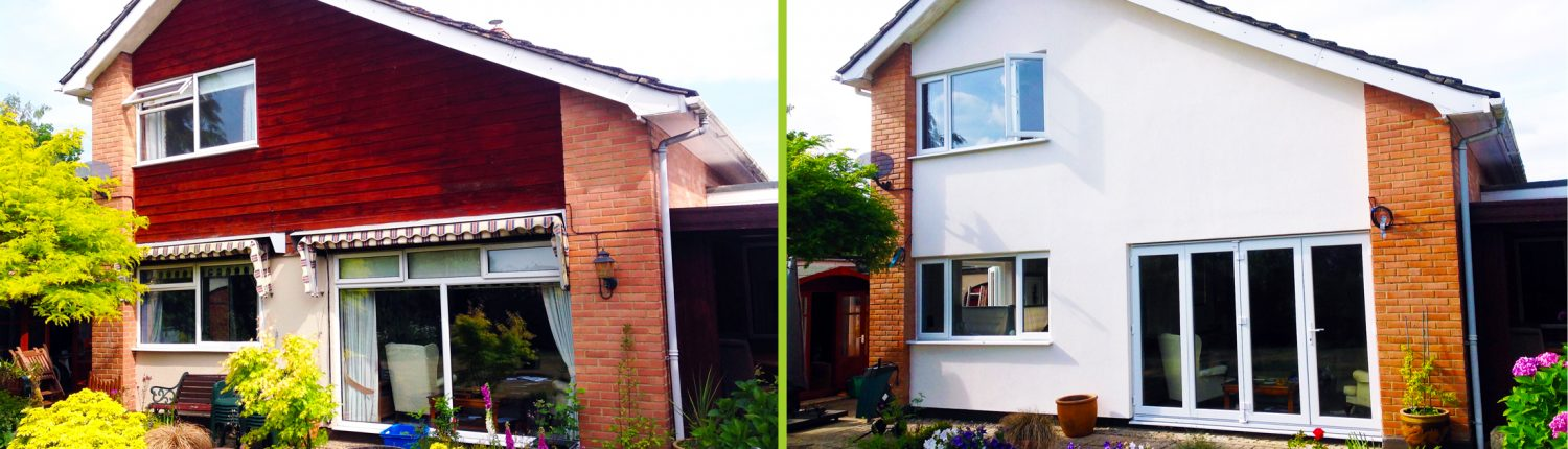 Before and after an insulation installation